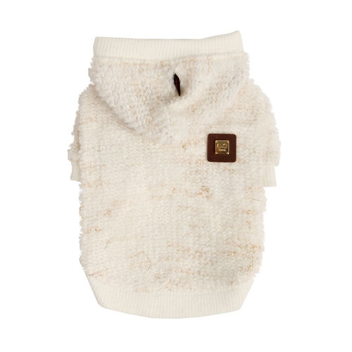 PUPPPIA knitted hoodie white/gold