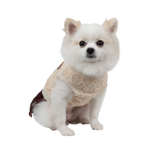 PUPPIA knitted dress for dog beige